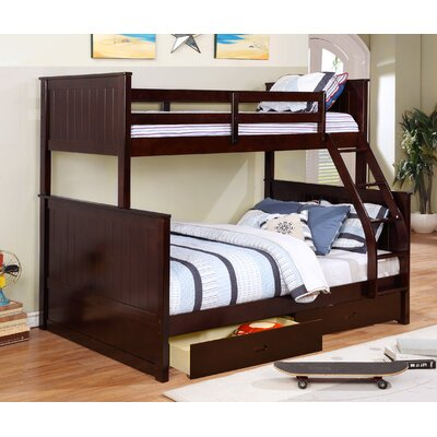 Lynne Twin Over Full Bunk Bed with Drawers Color: Espresso