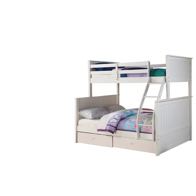 Lynne Twin Over Full Bunk Bed with Drawers Color: White