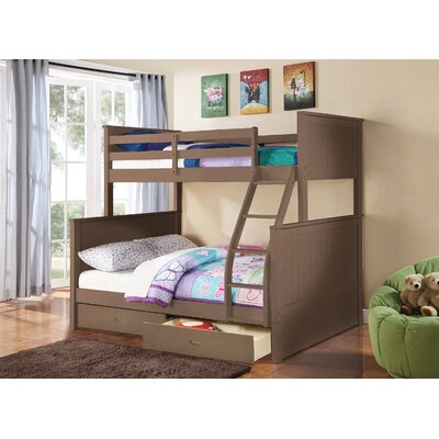 Lynne Twin Over Full Bunk Bed with Drawers Color: Sand Wash