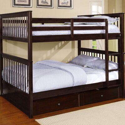 Vicky Full Over Full Bunk Bed with Trundle Color: Espresso