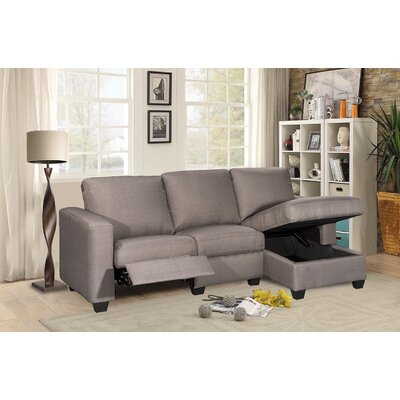 Andrey Storage Reclining Sectional Upholstery: Gray