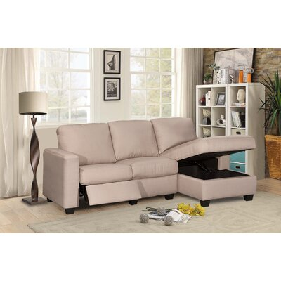 Andrey Storage Reclining Sectional Upholstery: Light Gray