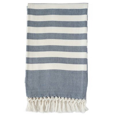 Classic Stripe Throw Blanket Color: Navy