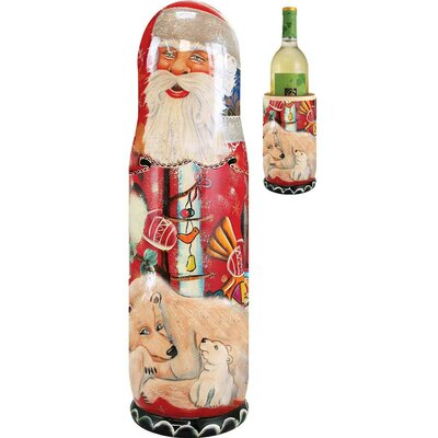 Fifer Santa Polar Bears 1 Bottle Tabletop Wine Rack