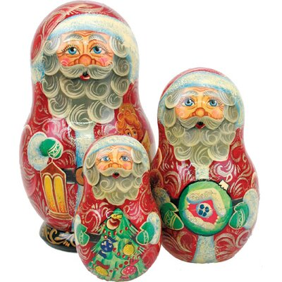Russian 3 Piece Guardian Santa Nested Doll Set 110573