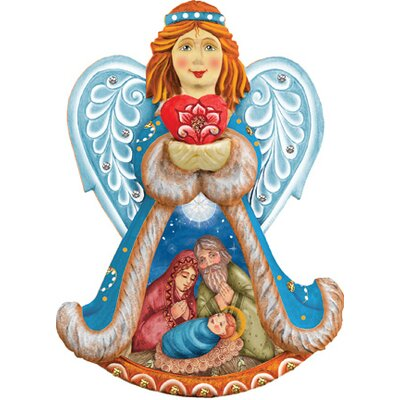 Derevo Holy Night Angel Ornament Figurine with Scenic Painting