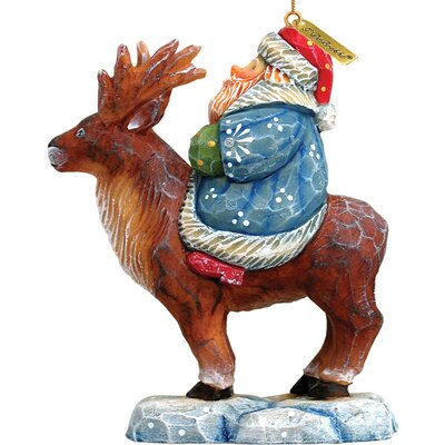 Derevo Santa on Reindeer Figurine Ornament Figurine