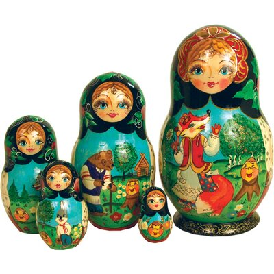 Russian 5 Piece Ginger Bread Nested Doll Set 120051