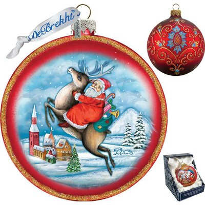 Holiday Reindeer Santa Glass Ornament
