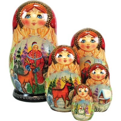 Russia 5 Piece Snow Maiden Nested Doll Set