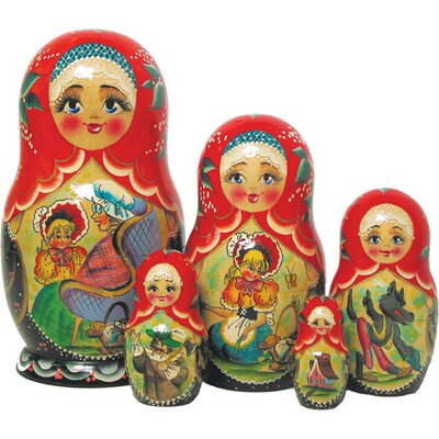 Russian 5 Piece Riding Hood Nested Doll Set 130098