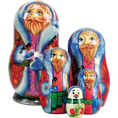 Russia 5 Piece Bird Lover Santa Nested Doll Set