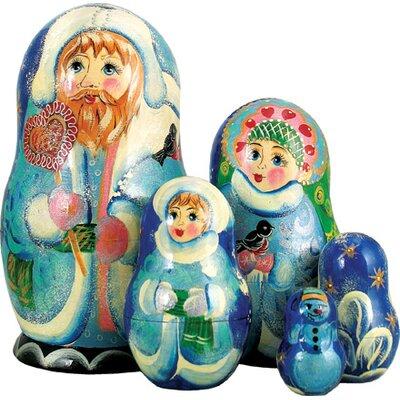 Russia 5 Piece Winter Sweet Santa Nested Doll Set