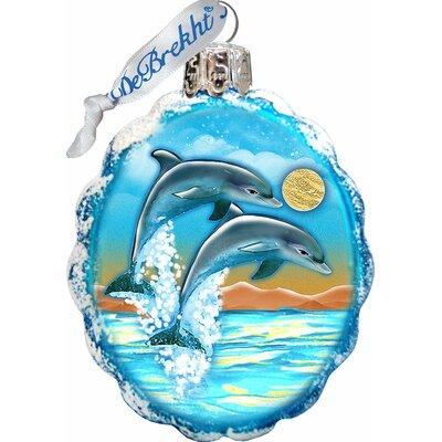 Keepsake Flower Dolphins Coastal Glass Ornament