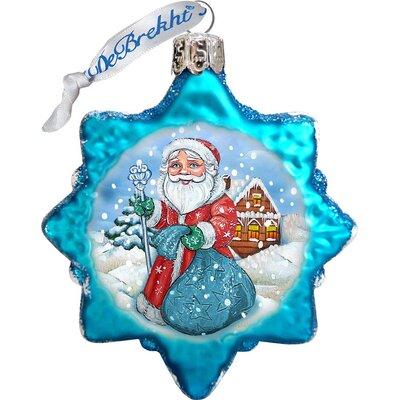 Keepsake Santa with Blue Bag Glass Ornament 777385