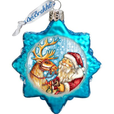 Keepsake Reindeer Santa Glass Ornament
