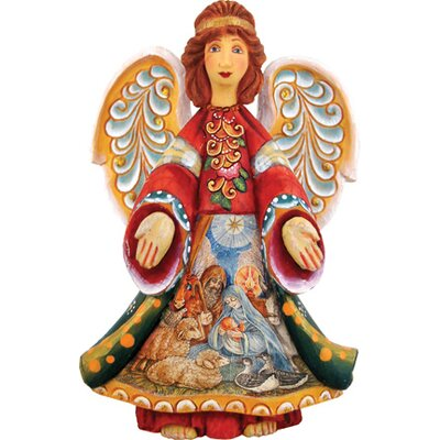 Derevo Angel with Nativity Scene Figurine