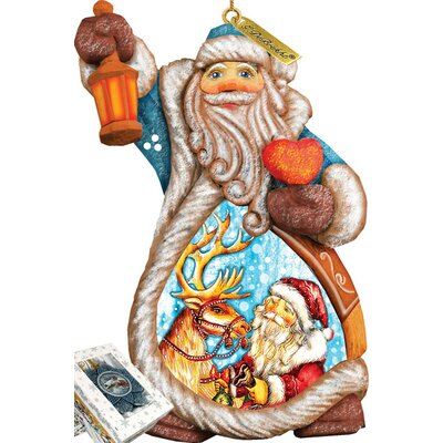 Derevo Santa with Reindeer Ornament Figurine with Scenic Painting