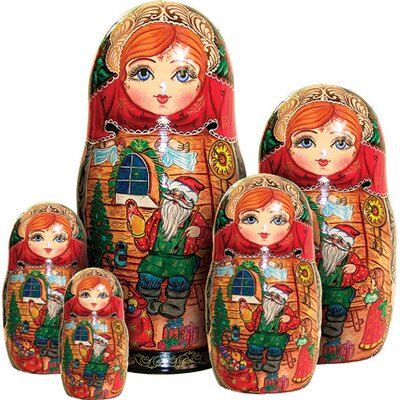 Russian 5 Piece Santa Workshop Nested Doll Set 1300992