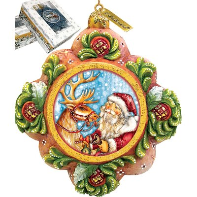 Santa with Reindeer Ornament