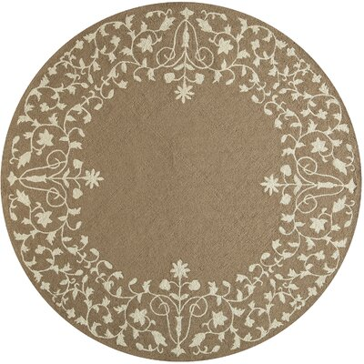 McMahon Hand Hooked Latte Area Rug Rug Size: Round 9