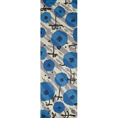 Olivia Hand-Tufted Blue Area Rug Rug Size: Runner 26 x 8