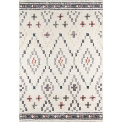 Rundell Geometric Ivory Area Rug Rug Size: Rectangle 93 x 126