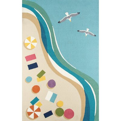 Bodnar Hand-Hooked Blue Indoor/Outdoor Area Rug Rug Size: 5 x 8