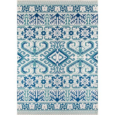 Glouscester Blue Indoor/Outdoor Area Rug Rug Size: 53 x 76