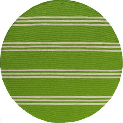 Aderdour Hand-Hooked Lime Indoor/Outdoor Area Rug Rug Size: Round 9