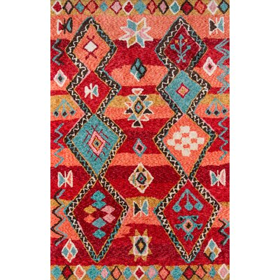 Monroeville Hand-Tufted Red Area Rug Rug Size: Rectangle 76 x 96