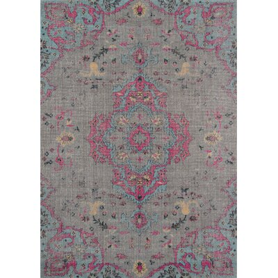 Thadine Gray Oriental Area Rug Rug Size: Rectangle 53 x 76
