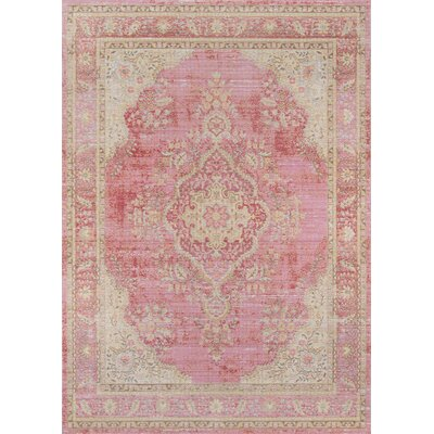 Sofian Pink Oriental Area Rug Rug Size: Rectangle 53 x 73