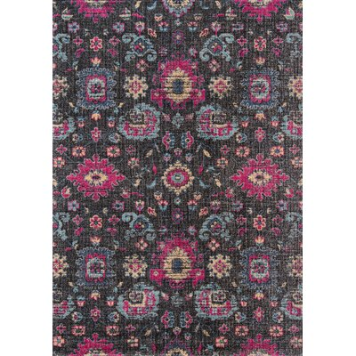 Thadine Charcoal Area Rug Rug Size: Rectangle 53 x 76