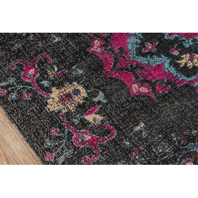Thadine Charcoal Oriental Area Rug Rug Size: Rectangle 53 x 76