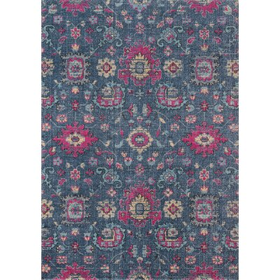 Thadine Denim Floral Area Rug Rug Size: Rectangle 53 x 76