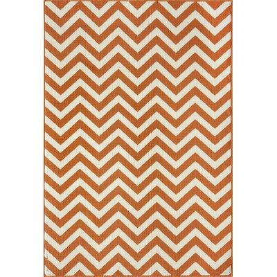 "Momeni Baja Orange/Ivory Indoor/Outdoor Area Rug - Rug Size: 3'11"" x 5'7"""