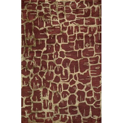 Zen Hand Tufted Wool Rust Area Rug Rug Size: 5 x 8