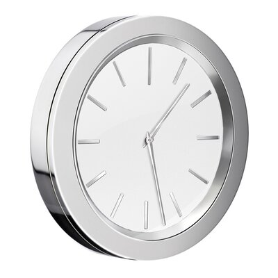 "3"" Self Adhesive Bathroom Mirror Wall Clock Color: White"