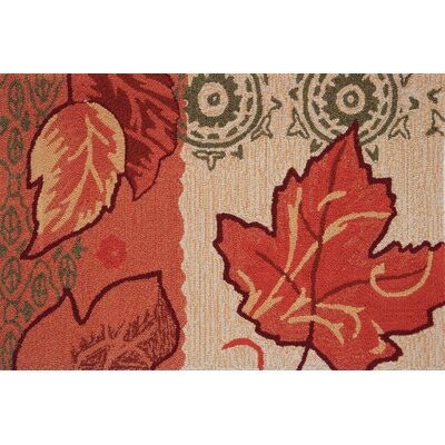Floral and Garden Fall Leaves Hand Hooked Red/Golden Area Rug