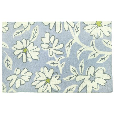 Homefires Floral and Garden Blue/White Daisies Area Rug - Rug Size: 1'10