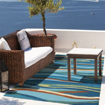 Ocean Waves Handmade Blue Indoor/Outdoor Area Rug Rug Size: 5 x 7