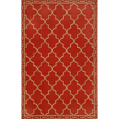Abboud Floor Tile Hand-Tufted Red/Gold Indoor/Outdoor Area Rug Rug Size: 76 x 96