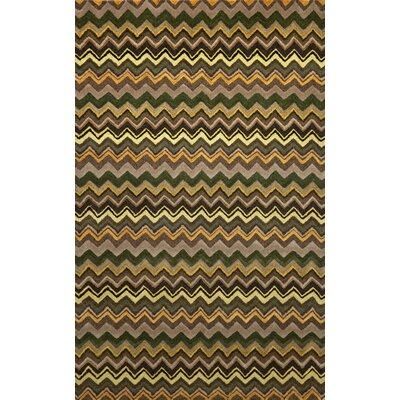 Shelburne Green Zigzag Stripe Rug Rug Size: 36 x 56