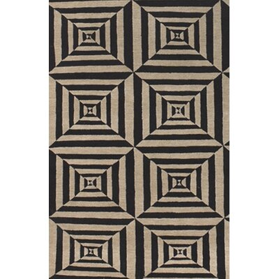 Elana Hand-Knotted Black/Beige Area Rug Rug Size: Rectangle 2 x 3