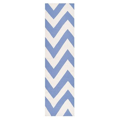 Lowery Periwinkle/White Chevron Area Rug Rug Size: Runner 26 x 8