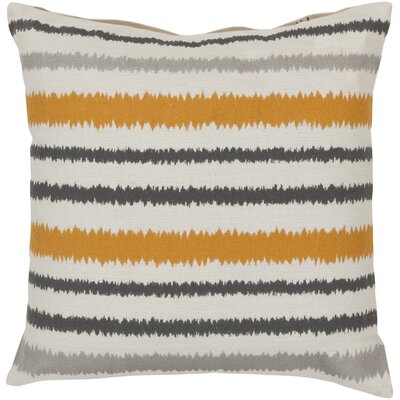 Vertical Stripes Linen Throw Pillow Size: 22 H x 22 W x 4 D, Color: Papyrus/Flint Gray/Hot Cocoa, Filler: Polyester