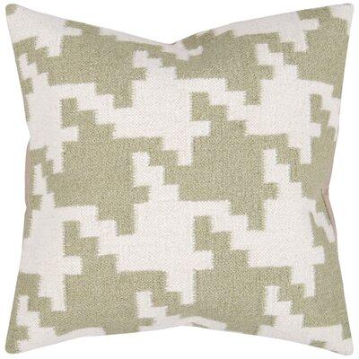 Timothy Houndstooth Throw Pillow Color: Antique White / Khaki Green, Filler: Down