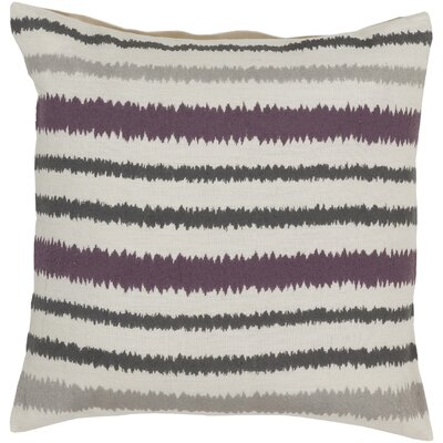 Vertical Stripes Linen Throw Pillow Size: 18 H x 18 W x 4 D, Color: Papyrus/Pewter/Amber, Filler: Down