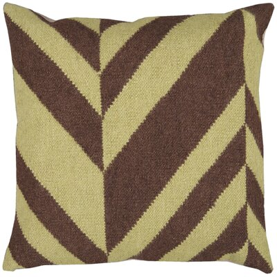 Slanted Stripe Throw Pillow Size: 18 H x 18 W x 4 D, Color: Lima Bean / Coffee Bean, Filler: Down
